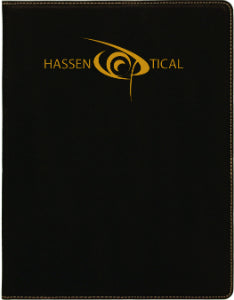 "7"" x 9"" Black/Gold Laserable Leatherette Small Portfolio with Notepad"