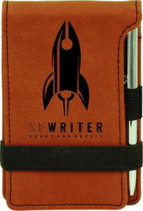 "3 1/4"" x 4 3/4"" Rawhide Laserable Leatherette Mini Notepad with Pen"
