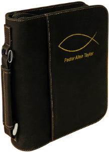 "7 1/2"" x 10 3/4"" Black/Gold Leatherette Book/Bible Cover with Handle & Zipper"