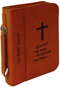 "7 1/2"" x 10 3/4"" Rawhide Leatherette Book/Bible Cover with Handle & Zipper"