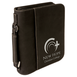 "7 1/2"" x 10 3/4"" Black/Silver Leatherette Book/Bible Cover with Handle & Zipper"