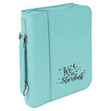 "7 1/2"" x 10 3/4"" Teal Leatherette Book/Bible Cover with Handle & Zipper"