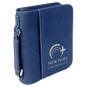 "7 1/2"" x 10 3/4"" Blue/Silver Leatherette Book/Bible Cover with Handle & Zipper"