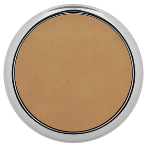 "3 5/8"" Round Light Brown Laserable Leatherette Coaster w/ Silver Edge"