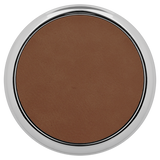 "3 5/8"" Round Dark Brown Laserable Leatherette Coaster w/ Silver Edge"