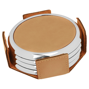 "3 5/8"" Round Light Brown Laserable Leatherette 4-Coaster Set w/Silver Edge"
