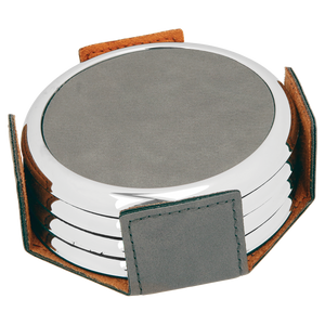 "3 5/8"" Round Gray Laserable Leatherette 4-Coaster Set w/Silver Edge"