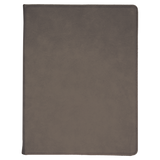 "9 1/2"" x 12"" Gray Laserable Leatherette Portfolio with Notepad"