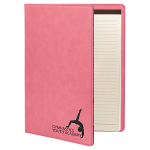 "9 1/2"" x 12"" Pink Laserable Leatherette Portfolio with Notepad"