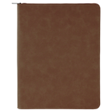 "9 1/2"" x 12"" Dark Brown with Zipper Laserable Leatherette Portfolio with Notepad"