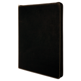 "9 1/2"" x 12"" Black/Gold with Zipper Laserable Leatherette Portfolio with Notepad"