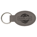 "3"" x 1 3/4"" Gray Laserable Leatherette Oval Keychain"