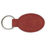 "3"" x 1 3/4"" Rose Laserable Leatherette Oval Keychain"