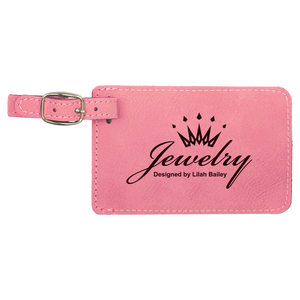 "4 1/4"" x 2 3/4"" Pink Laserable Leatherette Luggage Tag"