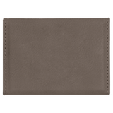 "3 3/4"" x 2 3/4"" Gray Laserable Leatherette Hard Business Card Holder"
