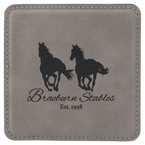"4"" x 4"" Square Gray Laserable Leatherette Coaster"