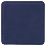 "4"" x 4"" Square Blue/Black Laserable Leatherette Coaster"