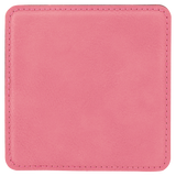 "4"" x 4"" Square Pink Laserable Leatherette Coaster"
