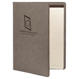 "7"" x 9"" Gray Laserable Leatherette Small Portfolio with Notepad"