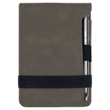 "3 1/4"" x 4 3/4"" Gray Laserable Leatherette Mini Notepad with Pen"