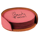 "4"" Pink Round Laserable Leatherette 6-Coaster Set"