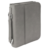 "6 3/4"" x 9 1/4"" Gray Leatherette Book/Bible Cover with Handle & Zipper"