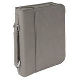"7 1/2"" x 10 3/4"" Gray Leatherette Book/Bible Cover with Handle & Zipper"