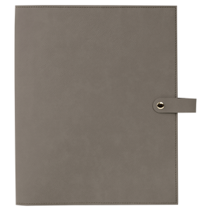 "8 3/4"" x 11"" Gray Leatherette Book/Bible Cover with Snap Closure"