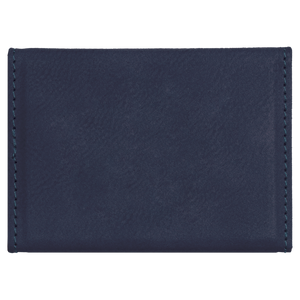 "3 3/4"" x 2 3/4"" Blue/Black Laserable Leatherette Hard Business Card Holder"