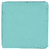 "4"" x 4"" Square Teal Laserable Leatherette Coaster"