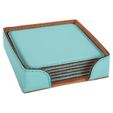 "4"" x 4"" Teal Square Laserable Leatherette 6-Coaster Set"