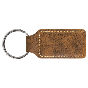 "2 3/4"" x 1 1/4"" Rustic/Gold Laserable Leatherette Rectangle Keychain"