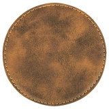 "4"" Round Rustic/Gold Laserable Leatherette Coaster"