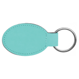 "3"" x 1 3/4"" Teal Laserable Leatherette Oval Keychain"