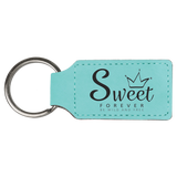 "2 3/4"" x 1 1/4"" Teal Laserable Leatherette Rectangle Keychain"