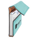 "3 3/4"" x 2 3/4"" Teal Laserable Leatherette Hard Business Card Holder"