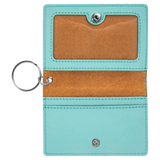 "4 1/4"" x 3"" Teal Laserable Leatherette Keychain ID Holder"