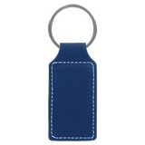 "2 3/4"" x 1 1/4"" Blue/Silver Laserable Leatherette Rectangle Keychain"