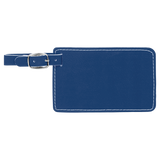 "4 1/4"" x 2 3/4"" Blue/Silver Laserable Leatherette Luggage Tag"