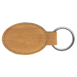 "3"" x 1 3/4"" Bamboo Laserable Leatherette Oval Keychain"