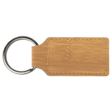 "2 3/4"" x 1 1/4"" Bamboo Laserable Leatherette Rectangle Keychain"