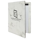 "7"" x 9"" White Marble Laserable Leatherette Small Portfolio with Notepad"
