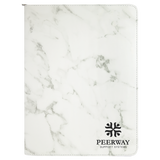"9 1/2"" x 12"" White Marble with Zipper Leatherette Portfolio with Notepad"