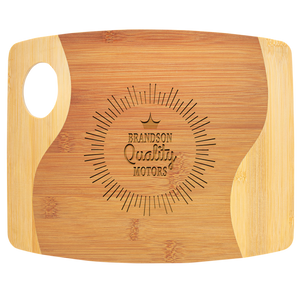 "9"" x 11"" x 5/16"" Bamboo Two Tone Cutting Board with Handle"