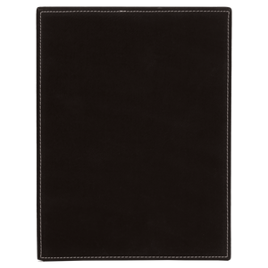"10 1/2"" x 13"" Black/Silver Laserable Leatherette Plaque"