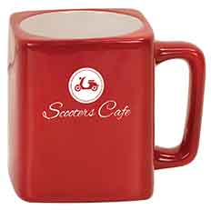 8 oz. Red Ceramic Square LazerMug