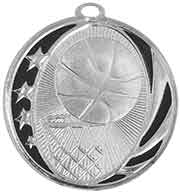 "2"" Bright Silver Basketball Laserable MidNite Star Medal"