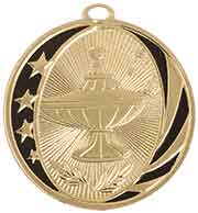 "2"" Bright Gold Lamp of Knowledge Laserable MidNite Star Medal"