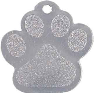 "1 3/8"" x 1 3/8"" Silver Laserable Paw Print Pet Tag"