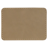 "3 1/2"" x 2 1/2"" Rectangle Light Brown Laserable Leatherette Patch with Adhesive"
